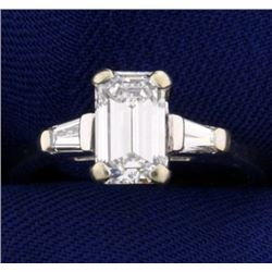 Over 1.5 ct TW Very High Quality Emerald Cut Diamond Engagement Ring in 14K White Gold Setting