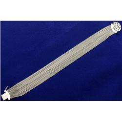 18K White Gold Italian Made Multi-Strand Curb Link Bracelet