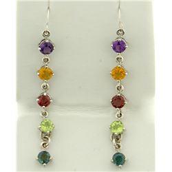 Long Rainbow Gemstone Dangle Earrings in 14K White Gold