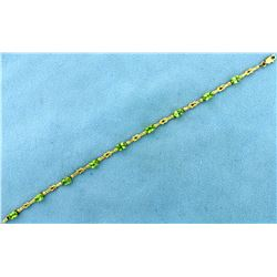 Unique Knot Link 4.5ct TW Peridot Gold Bracelet