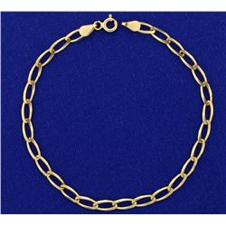 7 1/4 Inch Long Link Yellow Gold Bracelet