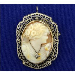 Antique Diamond Cameo Pendant or Pin in 14K White Gold