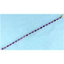 11 ct TW Amethyst Gold Bracelet