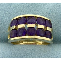 Over 3ct TW Amethyst Gold Ring