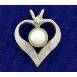 Akoya Pearl and Diamond Heart Pendant in 14K White Gold