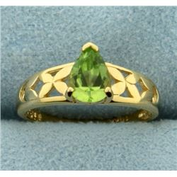Pear Shaped Peridot Gold Ring