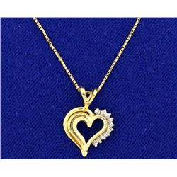 Diamond Heart Pendant on 14k Gold Chain