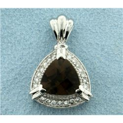 Smokey Topaz and Diamond Pendant