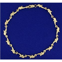 9 1/4 Inch Gold Dolphin Anklet