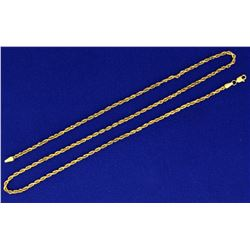 21 Inch Rope Style Neck Chain in 14k Gold