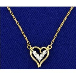 Diamond Heart Necklace in 14k Gold