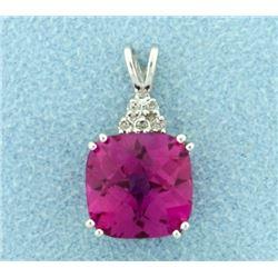 6ct Pink Topaz and Diamond Pendant