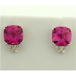 6ct TW Pink Topaz and Diamond Earrings