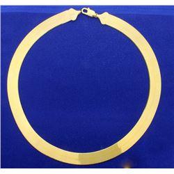 Italian Made 18 Inch Gold Herringbone Necklace