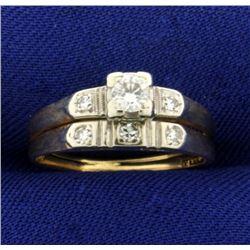 Vintage Diamond Wedding Ring Set in 14K Yellow and White Gold