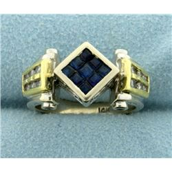 Hand Crafted Custom Designed Sapphire and Diamond Ring in 14K Gold
