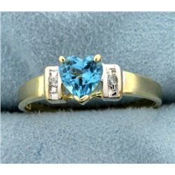 Heart Shaped Swiss Blue Topaz and Diamond Ring in 14K Yellow and White Gold
