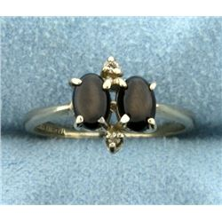 Vintage 1 ct TW Black Star Sapphire Ring in 14K White Gold
