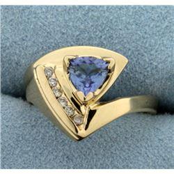 Tanzanite and Diamond Ring in 14K Yellow Gold
