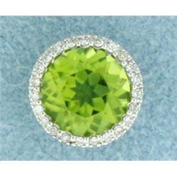 Peridot and Diamond Pendant or Slide in 14K White Gold