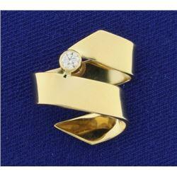 Unique Scroll Design Diamond Slide in 14K Yellow Gold