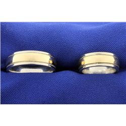 Men's and Woman's 14k Yellow and White Gold Wedding Band Ring Set