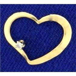 Lightweight Heart Diamond Slide in 14K Yellow Gold