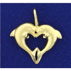 Heart Dolphin Pendant in 14K Yellow Gold