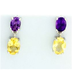 Oval Citrine and Amethyst Dangle Earrings