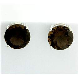 Huge Smokey Topaz Stud Earrings