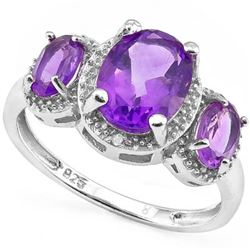 Large 3 Stone Amethyst Halo Inspired Ring in Sterling Silver with Diamonds