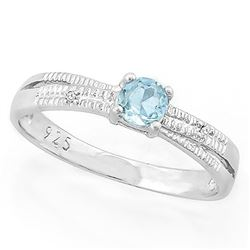 Criss Cross Sky Blue Topaz Ring with Diamond in Sterling Silver