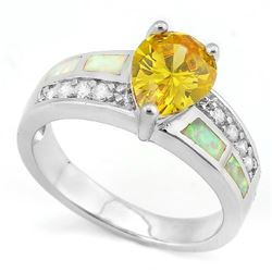 Pear Cut 3ct Lab Yellow Sapphire Ring with Fire Opal in Sterling Silver