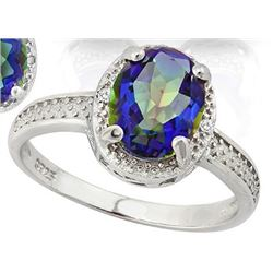 Large 2.5 Carat Ocean Mystic Topaz and Diamond Ring in Sterling Silver