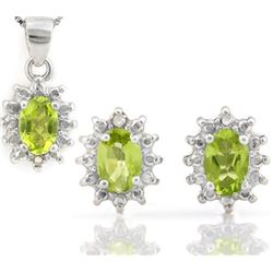Peridot and Diamond Earring and Pendant Set in Sterling Silver