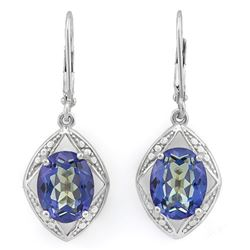 Blue Violet Mystic Topaz Dangle Earrings in Sterling Silver