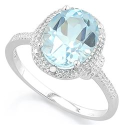 Huge 3 Carat Sky Blue Topaz Ring with Diamond in Sterling Silver