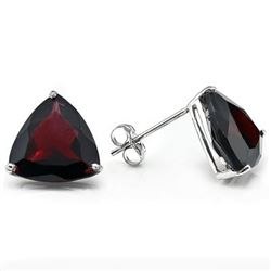 Garnet 6mm Trillion Stud Earrings in Sterling Silver