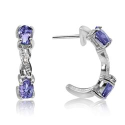Tanzanite and Diamond Earrings in Sterling Silver