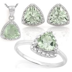 Trillion 4CTW Green Amethyst and Diamond Ring Earring and Necklace Set in Sterling Silver