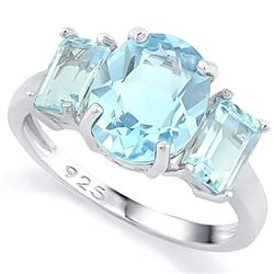 Sky Blue Topaz 6CTW 3 Stone Ring in Sterling Silver