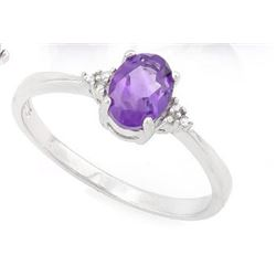 Amethyst and Diamond Ring in Sterling Silver