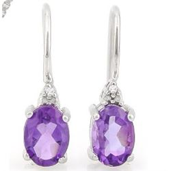 Amethyst and Diamond Earrings and Pendant SET in Sterling Silver