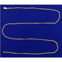 23 1/2 Inch Elongated Linked Neck Chain in 18K Yellow Gold