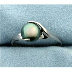 Tahitian Pearl Ring in 14K White Gold