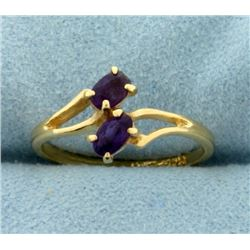 Two Stone Amethyst Ring in 14K Yellow Gold