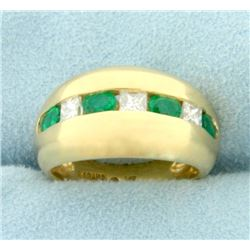 Natural 1 ct TW Emerald and Diamond Ring in 14K Yellow Gold