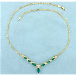 Tsavorite Green Garnet and Diamond Necklace in 14K Gold