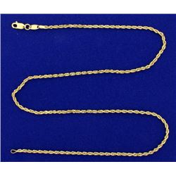 18 1/4 Inch Rope Link Neck Chain in 14k Gold