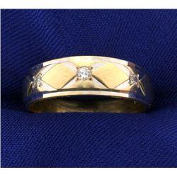 14k Diamond White and Yellow Gold Wedding Band Ring